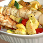Grilled Citrus Scallop and Shrimp Skewers Vegetable Medley