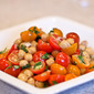 Tomato & Chickpea Salad with Basil and Yogurt Dressing