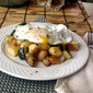 Zucchini, Potatoes and Onions with Thyme Topped With An Egg