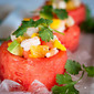 Shrimp Ceviche Recipe in Watermelon Cups