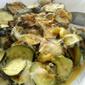 Zucchini with mozzarella and pamersan topping
