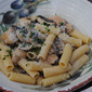 Rigatoni with chicken and creamy mushroom sauce