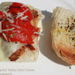 Meatball Melted Provolone and Roasted Pepper Sandwich