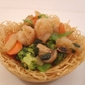 Braised Prawns and Vegetables in Birds Nest