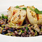 Black Rice, Mixed Grains & Brussels Sprout Stir Fry with Wild Alaska Scallops