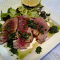 Grilled Tuna with low fat basil pesto