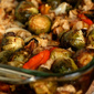 Roasted Brussels Sprouts and Peppers with Toasted Bread Crumbs