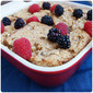 Whole Wheat Bread Pudding with Walnuts and Blackberry Sauce