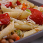 Recipe for Meatless Penne Pasta with White Beans, Roasted Tomatoes, and Herbs