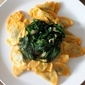 Mushroom Agnolotti with Pumpkin Sauce and Garlicky Spinach
