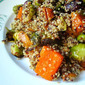 I'M BACK!!! Quinoa w/ Brussels Sprouts, Squash & Grapes