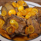 Roast wild duck with kumquat sauce