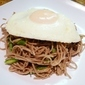 Soba Noodles with Asparagus, Parmesan, Bacon & Egg
