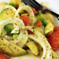 Recipe for fennel, avocado and grapefruit salad with orange vinaigrette