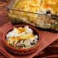 Recipe for Leftover Turkey (or chicken) Shepherd's Pie Casserole with Garlic-Parmesan Cauliflower Topping