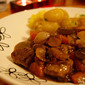 Beef and Red wine Stew with baby Onions and Mushrooms