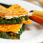 Recipe for turkey, kale and cheese quesadillas