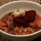 A Beef Stew with a Beet and Kimchi Stew