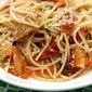 spaghetti with grilled tomatoes and lemon