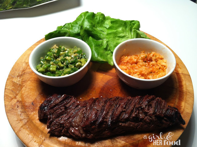 Marinated Hanger Steak Ssam with Red Kimchi Puree & Ginger Scallion ...