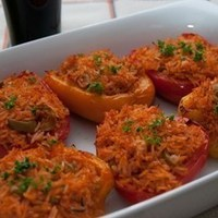Mixed peppers stuffed with rice