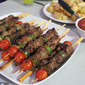 Beef Tomato and Zucchini Kebabs with Chutney