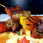 Grilled lamb skewers with watermelon and mango