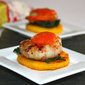 Appetizers for Florence – Polenta crostini with shrimps wrapped with pancetta, kale, and roasted red pepper coulis