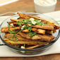 Sweet Potato Fries with Blue Cheese and Chives and a Citrus Blue Cheese Dip