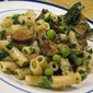 Darn Good Skillet Dinner (Pasta with Turkey Kielbasa and Green Vegetables)