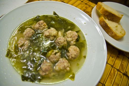Turkey-Meatball Soup With Escarole And Pappardelle Recipe — Dishmaps