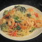garlic shrimp and broccoli with angel hair