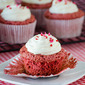Red Velvet Angel Food Cupcakes with Whipped Cheesecake Frosting