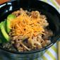 Recipe for slow cooker chicken and pinto bean burrito bowl