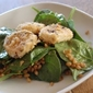Spinach Salad with Baked Goat Cheese, Wheat Berries, & Lavender-Orange Vinaigrette