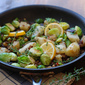 Tuscan inspired skillet potatoes, brussels sprouts and cranberry beans