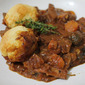 Beef and Bacon Casserole with Cheese Dumplings