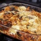 Baked tagliatelle with spinach and ground pork