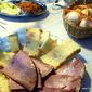 Egg noodle ham savoury torte and Sweet baked ham