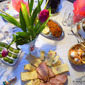 Easter menu Egg Noodle Ham Pastiera and sweet Ham