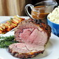 Herb and Garlic Crusted Prime Rib Roast with Burgundy Thyme Gravy