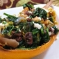 Spaghetti Squash with Spinach, Raisins and Walnuts