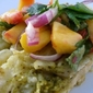 Beef Enchiladas with Roasted Tomatillo Sauce and Fresh Peach Salsa