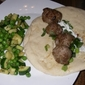 Lamb Meatball Gyros with Yogurt and Mint/ with Sauteed Zucchini and Peas