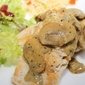 Chicken with Pesto-Mushroom Cream Sauce