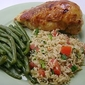 Lemon Chicken with Tomato Parsley Rice and Lemon Garlic Green Beans with Brioche Sticky Buns for Dessert!!