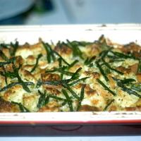 Asparagus bread pudding