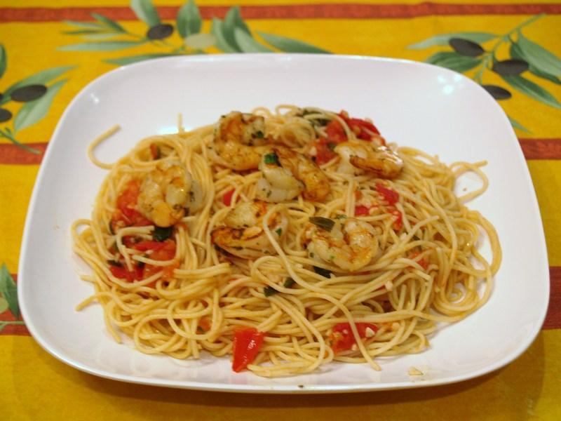 Garlic Tomato Basil Grilled Shrimp Pasta Recipe by Brett ...