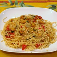 Garlic Tomato Basil Grilled Shrimp Pasta