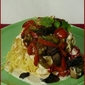 Vegetable Pasta Nests with Garlic Cream Sauce